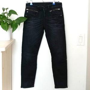 R 13 Biker Boy Cropped Dark Wash Jeans